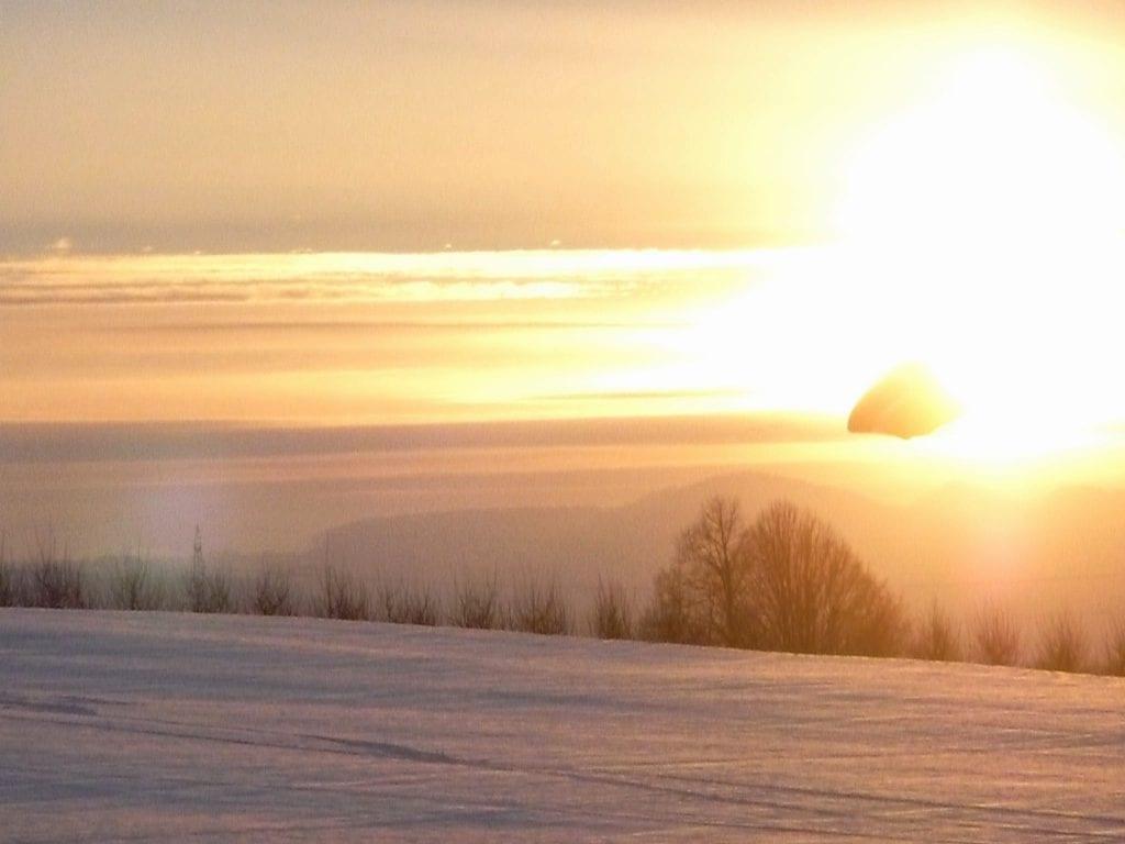 Winterlandschaft, Abendstimmung - Ausblick auf das Oberbaselbiet